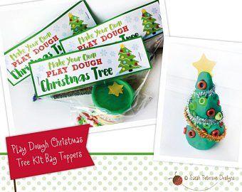 Printable Colorful Play Dough Snowman Kit Bag Toppers Etsy Christmas Tree Kit Play Dough Christmas Playdough