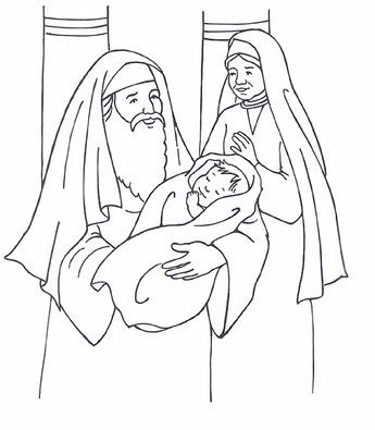 Simeon Anna And Baby Jesus Luke 2 Sunday School Coloring