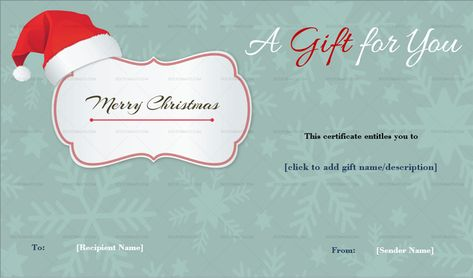 Download Christmas Gift Certificate Template (Santa Cap, #6525) MS WORD in Microsoft Word (DOC). Christmas Gift Certificate Template (Santa Cap, #6525) MS WORD is designed by expert designers and is completely customizable. Download, Edit  Print.