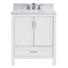 Scott Living Durham 30 In White Oak Single Sink Bathroom Vanity With Carrara Natural Marble To Bathroom Sink Vanity Single Sink Bathroom Vanity Bathroom Vanity