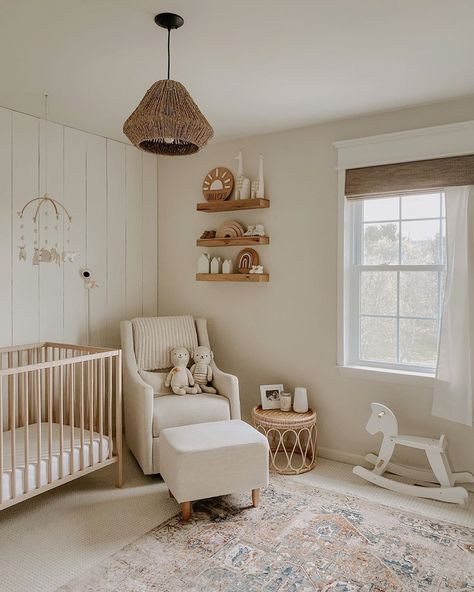 A baby's room set for a boy or girl. Baby Nursery Decor, Baby Bedroom, Girl Nursery, Room Baby, Calming Nursery, Project Nursery, Woodland Nursery, Ikea Baby Room, Baby Nursery Sets