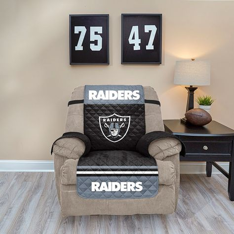 Phenomenal Oakland Raiders Quilted Recliner Chair Cover Recliner Machost Co Dining Chair Design Ideas Machostcouk