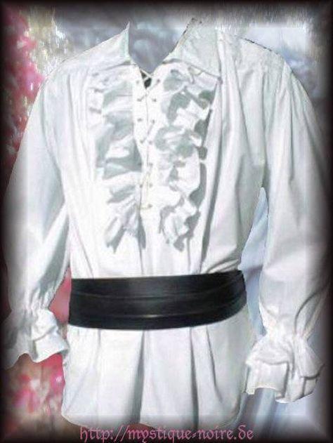 Details zu Rüschenhemd Hemd Leander weiß S XXXL Gothic