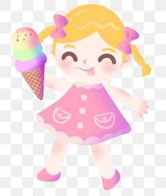 Eating Ice Cream Cute Girl Cartoon Illustration Snack Illustration Gourmet Illustration Delicious F Ice Cream Illustration Eating Ice Cream Creative Background