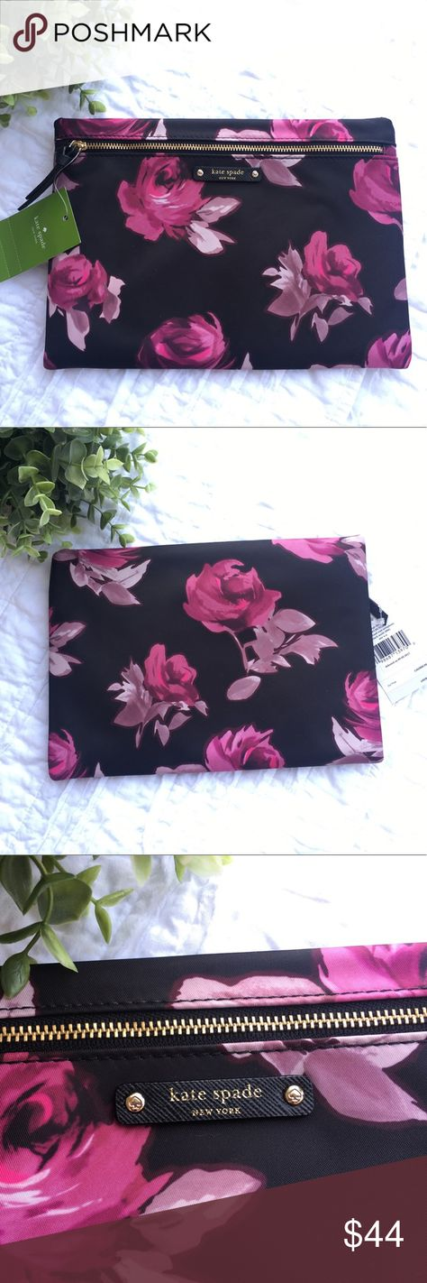 ebb41d827e Kate Spade Wilson Road Rose Symphony Large Drewe Beautiful Kate Spade large  drewe in the Wilson Road Rose Symphony print with black lining.