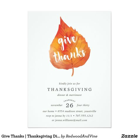 Give Thanks Thanksgiving Dinner Invitation Zazzle Com Fall Bridal Shower Invites Thanksgiving Dinner Invitation Dinner Invitations