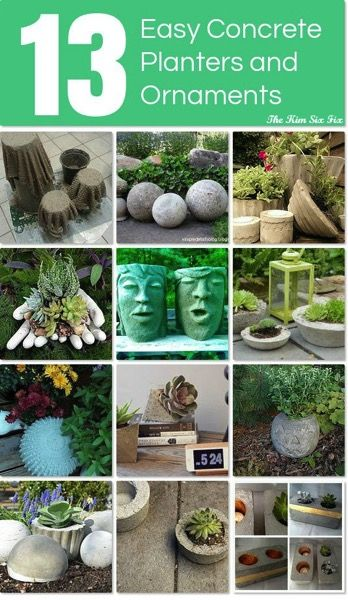 Scalloped Concrete Planters From Thrift Store Bowls Concrete Planters Concrete Garden Garden Art