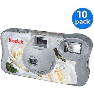 Kodak White Floral 'One-Time Use' Disposable Film Camera w/ Flash (10 Pack) for Wedding $39.00  http://www.walmart.com/ip/Kodak-Wedding-One-Time-Use-Disposable-Camera-w-Flash-10-pack/10191592