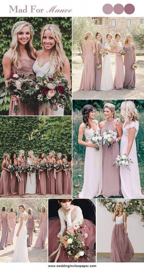 100 Hottest Mauve Wedding Decorations for Your Upcoming Day - Wedding Invites Paper shade of pink wedding dresses/ mauve wedding bridesmaid dresses/ elegant spring wedding ideas