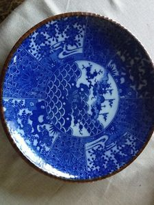 Antique Japanese Plates | Antique Japanese Blue And White Porcelain Large Plate/Charger & Antique Japanese Hand Painted Satsuma Imari Porcelain Plate/Bowl ...