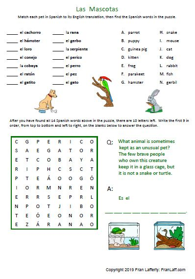 Animals In Spanish In 2020 Spanish Math Packets Vocabulary Cards