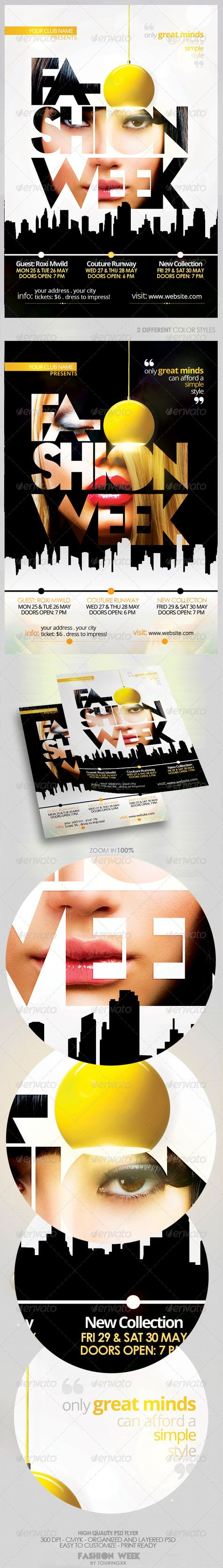 Fashion Week Vol 2 Flyer Template / $6. ***This flyer is perfect for the promotion of Fashion Events, Club Parties, Musicals, Festivals, Shops/Boutiques, New Collections, Concerts or Whatever You Want!.***