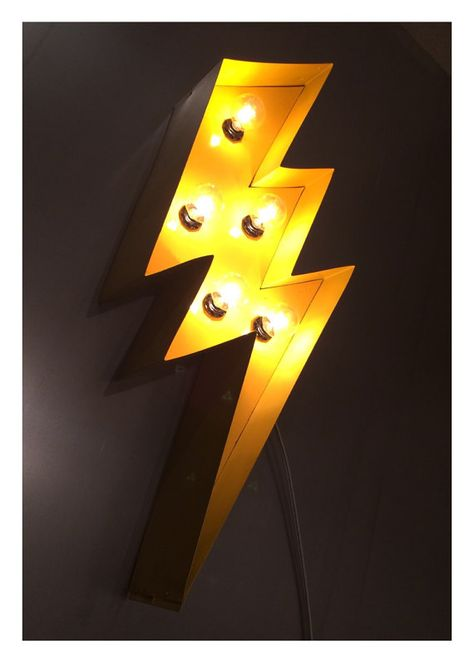 """Lightning Bolt Marquee 24""""; light up sign, yellow"""