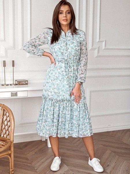 Niebieska Sukienka Z Falbana I Wiazaniem W Talii Dresses Fashion Shirt Dress