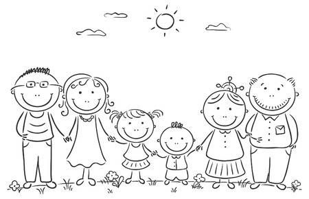 Cartoon Famile With Two Children And Grandparents Family Drawing Family Coloring Pages Doodle Drawings