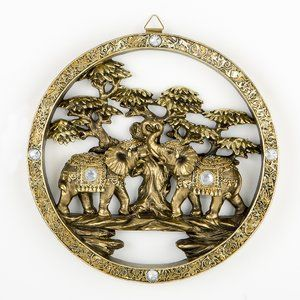 Round Elephant Plaque Wall Du00e9cor Decorative Plaque Feature Elephant Wall Decor Gold Bangles Design Elephant Figurines