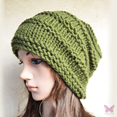 9331b98342980 Slouchy beanie - MILITARY Olive GREEN - ribbed style - slouch - chunky  handmade hat - Unisex men women