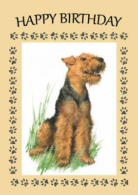 Airedale Terrier Dog Birthday Greetings Note Card 2 56 Picclick Hund Geburtstag Terrier Hund Airedale Terrier