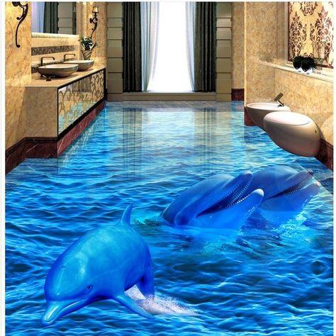 3d dolphin sea world floor mural photo flooring wallpaper