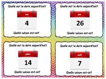 Task Cards Quiz Quiz Trade Date Months Seasons In French Quiz Quiz Trade Task Cards Cooperative Learning Activities