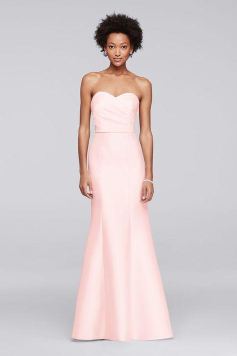Structured Mikado Strapless Long Bridesmaid Dress Petal
