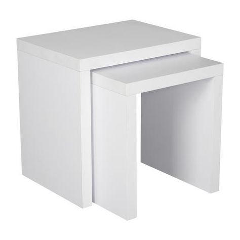 2 Tables Gigogne Mdf Melamine Differentes Tailles Blanc Special Rangement 10000179668 Tables Gigognes Gigogne Mobilier De Salon