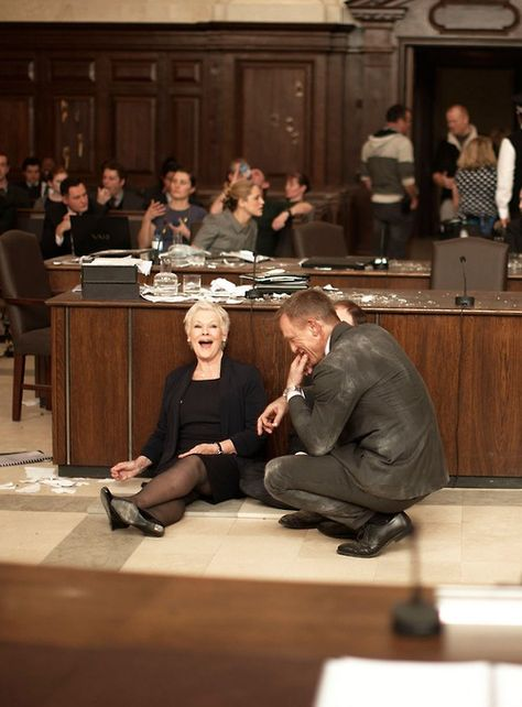 Judi Dench and Daniel Craig on the set of Skyfall, photograph by Greg Williams.