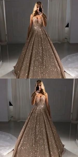 V Neck Sparkly Sequin A-line Long Evening Prom Dresses With Pockets, Cheap Custom Party Prom Dresses, 18606