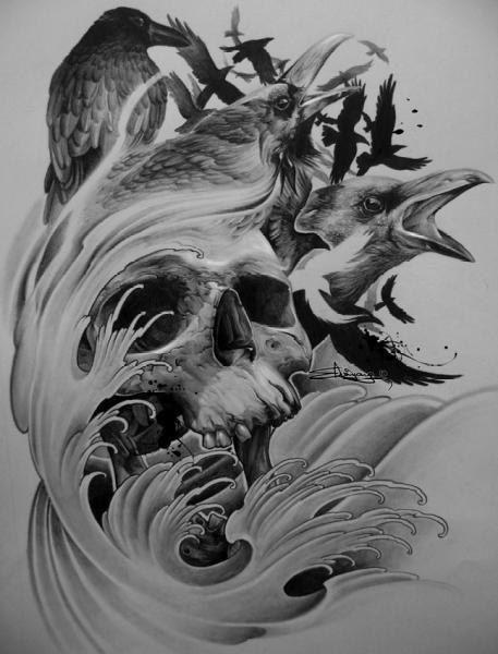 Татуировка в графике - череп и ворон на фото - Метла-Тату
