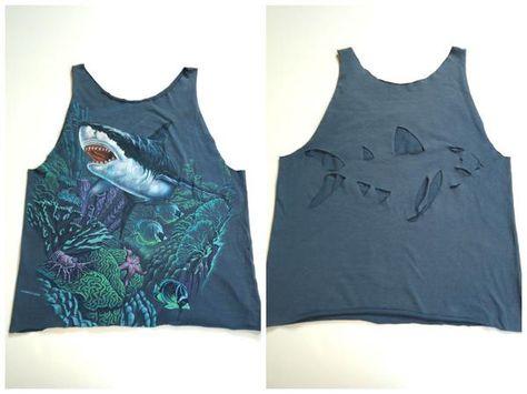Cut up shark t-shirt