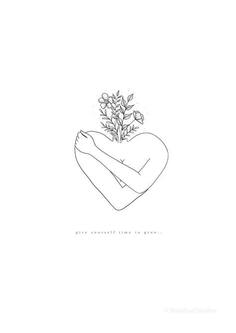 A4 'Give yourself time to grow' self love, self growth, self care Art Print. Line drawing, minimalistic, monochrome, gallery wall art print.