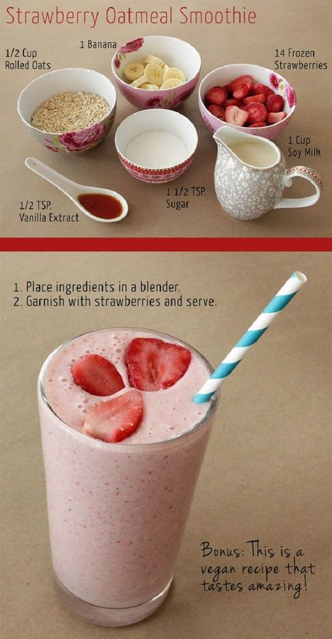 Strawberry Oatmeal Breakfast Smoothie - 13 Oatmeal Smoothies Worth Waking Up For | GleamItUp