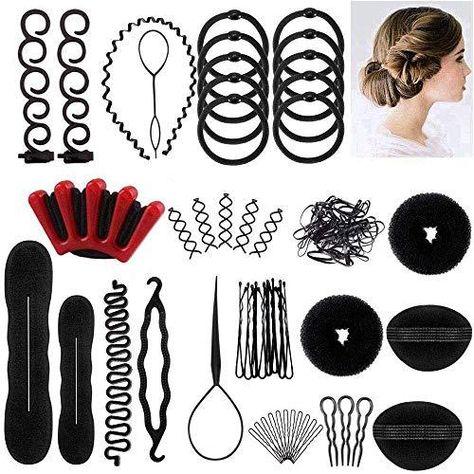 Winkeyes Hair Styling Set, Hair Design Styling Tools Accessories DIY Hair Accessories Hair Modelling Tool Kit Hairdresser Kit Set Magic Simple Fast Spiral Hair Braid Hair Braiding Tool, Set of 25 - Black