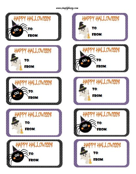 Free Printable Halloween Gift Tags Simply Bessy Kids Crafts Halloween Printables Halloween Labels Free Halloween Labels Printable