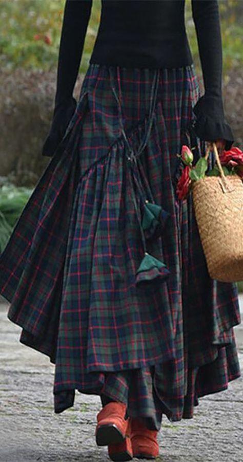 Hot Sale!Cotton Casual Plaid Vintage Skirt