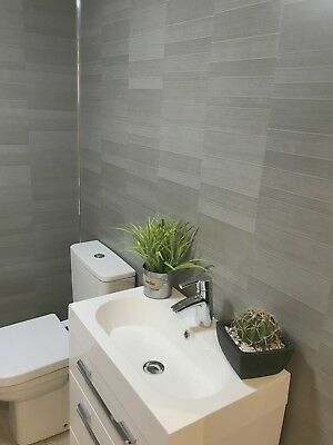 Graphite Grey Modern Tile Effect Bathroom Panels Shower Wall Pvc Cladding Bathroom Wall Cladding Bathroom Cladding Small Toilet Room