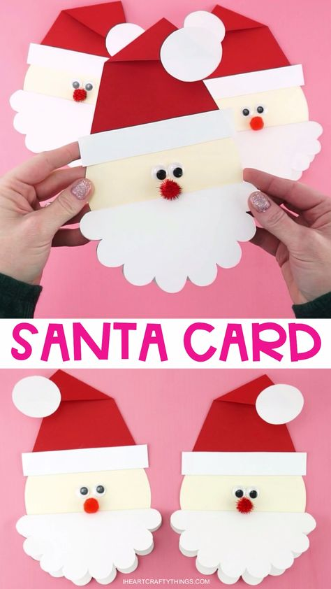 Grab our free template to make this cute Santa Card for family and friends. Kids will love making this simple and unique Christmas card idea. #iheartcraftythings