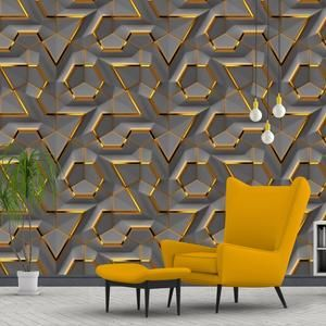 Printmyspace Vintage Gold And Grey Lattice Wallpaper Self Adhesive Removable Peel Stick Textured Wallpaper Gold Wall Covering Tapete Grey Lattice Wallpaper Gold Walls Textured Wallpaper