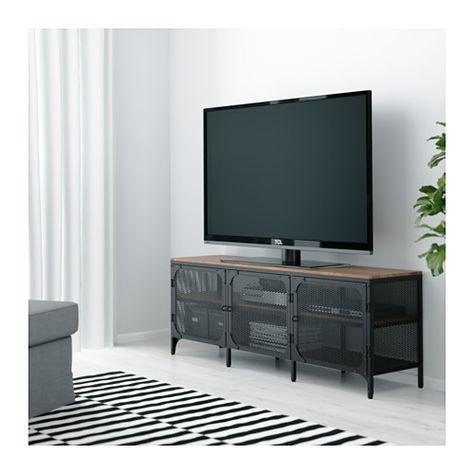 Houten Tv Meubel Zwart.Fjallbo Tv Meubel Zwart 150x36x54 Cm Mobilier De Salon Idee