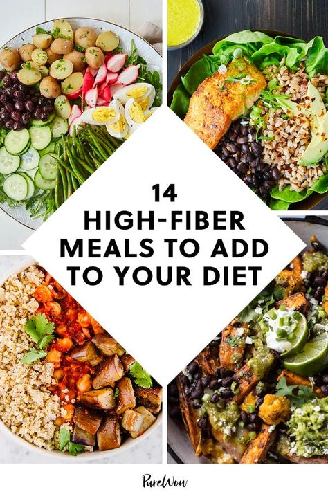 14 High-Fiber Meals to Add to Your Diet (and Why Fiber Is So Great in the First Place) High Fiber Diet Plan, High Fiber Low Carb, High Fiber Foods, Fiber Rich Foods, High Fiber Snacks, High Fiber Dinner, High Fiber Breakfast, Clean Eating Recipes, Healthy Dinner Recipes