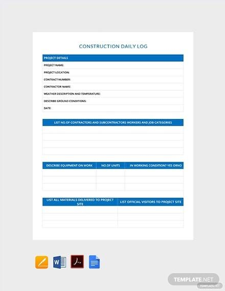 Construction Daily Log Template Free Pdf Word Apple Pages Templates Report Template Words