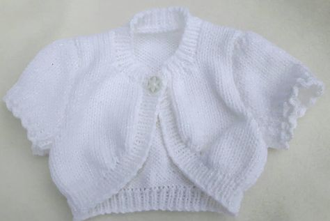 Hand Knitted White With Sparkle Girls Cardigan 0-3 Months