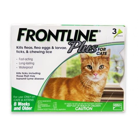 Merial 004fltsp Cat Frontline Plus Flea Amp Tick For Cats And Kittens 8 Weeks Or Older 3 Month 3 Doses Frontline Plus For Cats Cat Fleas Tick Treatment For Cats