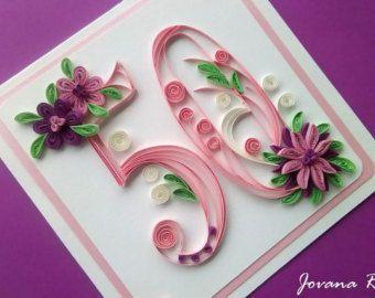 Big personalised greeting card/Handmade/Quilling/Birthday/Anniversary/50th birthday/18th birthday/ 90th birthday/ 20th birthday