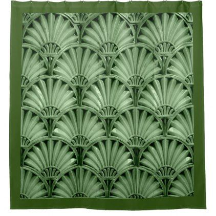 Art Deco Fans In Apple Green Shower Curtain Zazzle Com Green Shower Curtains Art Deco Shower Curtain Art