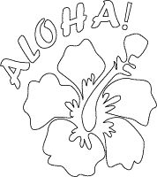 aloha poster with flower coloring page Luau Pinterest