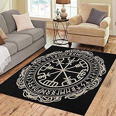 Amazon Com Pinbeam Area Rug Viking Magical Runic Compass Vegvisir