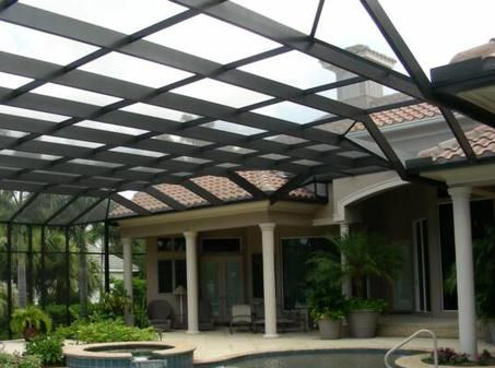 Flat Roof Screen Pool Enclosure To Fit Your Homes Design Designed Installed By Dreamwork Aluminum This Desi Fort Myers Pool Screen Enclosure House Exterior