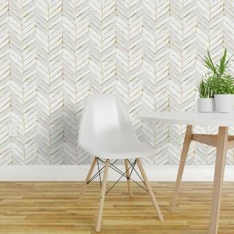 Liljenquist 31 1 X 31 1 Peel And Stick Vinyl Wall Paneling In White Chevron Wallpaper Peel And Stick Wallpaper Removable Wallpaper