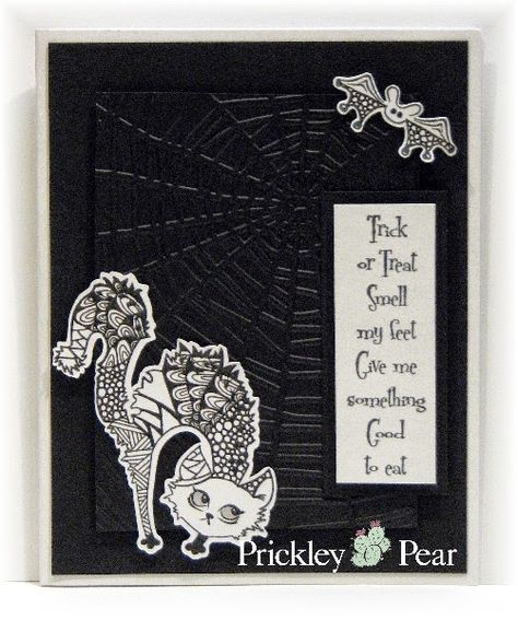handmade Halloween card using Prickley Pear Rubber Stamps ... black and white ... spiderweb embossing folder texture on background ... zentangle designs drawn on cat image ... luv it!